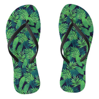 Tropical Leaves Pattern Flip Flops
