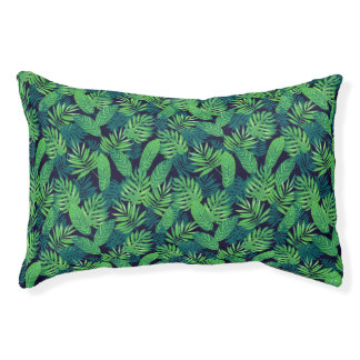 Tropical Leaves Pattern Pet Bed