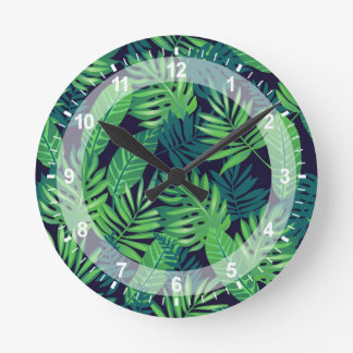 Tropical Leaves Pattern Round Clock