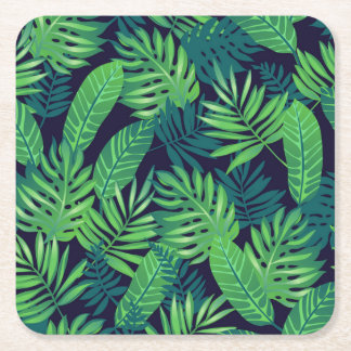 Tropical Leaves Pattern Square Paper Coaster