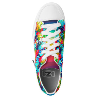 Tropical Leaves Pattern Zipz Low Top Shoes Printed Shoes