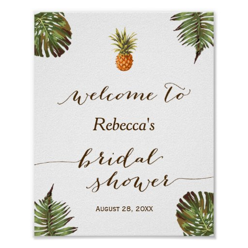 Tropical Leaves Pineapple Bridal Shower Sign