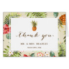Tropical Leaves Pineapple Hawaiian Luau Thank You Card
