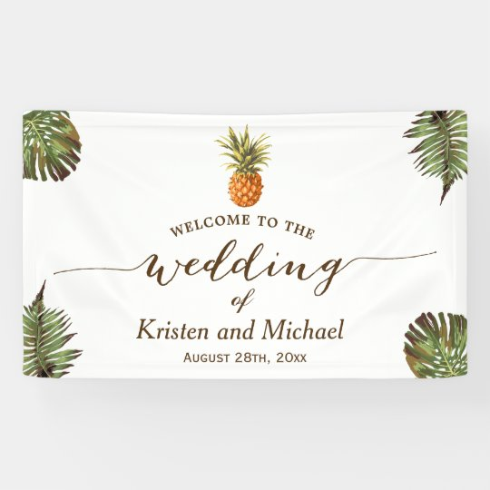 Tropical Leaves Pineapple Stylish Wedding Party Banner