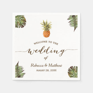 Tropical Leaves Pineapple Summer Wedding Disposable Napkin
