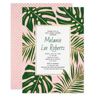 Tropical leaves pink wedding bridal shower card