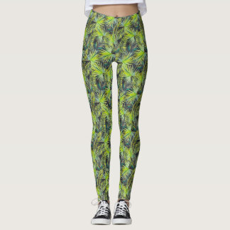 Tropical leaves print leggings