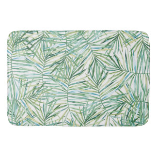Tropical Leaves Watercolor Bath Mat