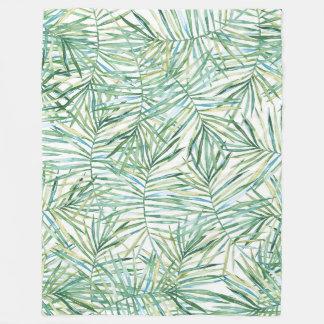 Tropical Leaves Watercolor Fleece Blanket