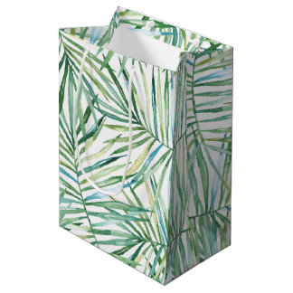 Tropical Leaves Watercolor Medium Gift Bag