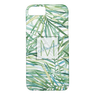 Tropical Leaves Watercolor Monogram iPhone 8/7 Case