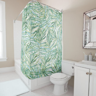 Tropical Leaves Watercolor Shower Curtain