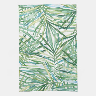 Tropical Leaves Watercolor Tea Towel