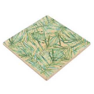 Tropical Leaves Watercolor Wood Coaster