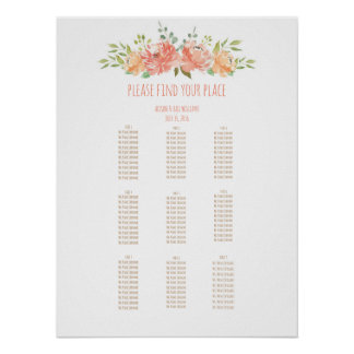 Tropical leaves wedding dinner seating chart