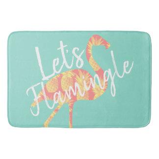 Tropical Let's Flamingle Flamingo & Pineapples Bath Mat