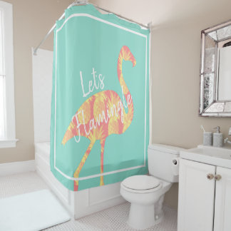 Tropical Let's Flamingle Flamingo & Pineapples Shower Curtain