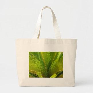 Tropical Light Green Palm Tree Leaves Hawaiian Jumbo Tote Bag