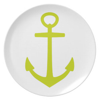 Tropical Lime Green Anchor on White Plate