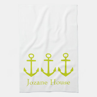 Tropical Lime Green Anchors on White Personalized Tea Towel