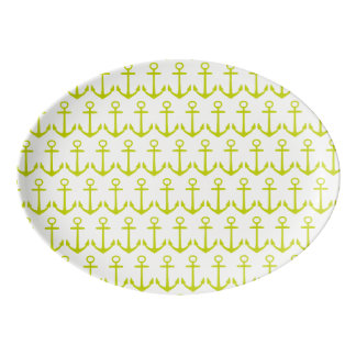 Tropical Lime Green Anchors on White Porcelain Serving Platter