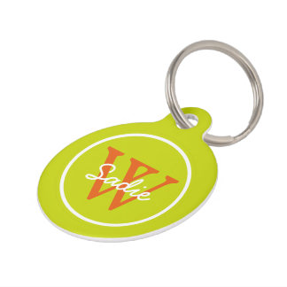 Tropical Lime Green and Wild Tangerine Monogram Pet Tag