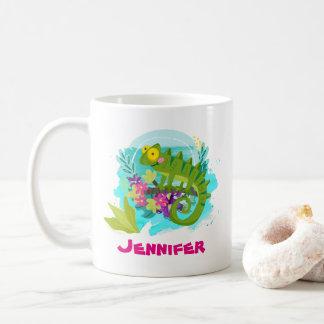 Tropical Lizard with Flowers Personalized Coffee Mug