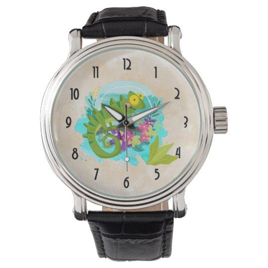 Tropical Lizard with Flowers Wrist Watch