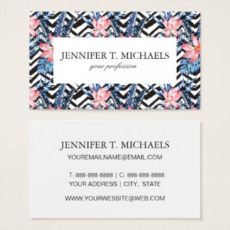 Tropical Lotus Flower Pattern Business Card