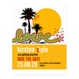 Tropical Love Summer Palm Trees Save The Date Postcard