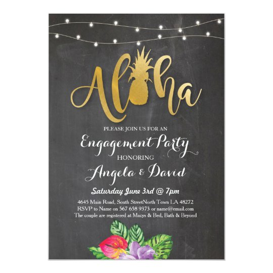 Tropical Luau Aloha Gold Floral Engagement Invite