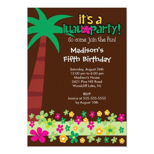 Tropical Luau Birthday Pool Party Invitation