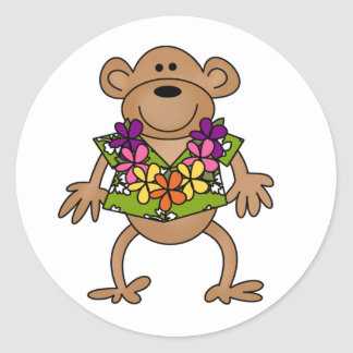 Tropical Luau Monkey Classic Round Sticker