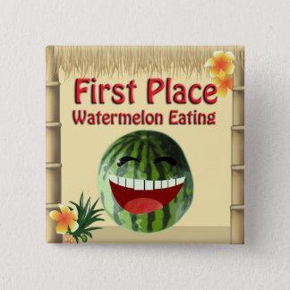 Tropical Luau Party Tiki Hut 1 Place Watermelon 15 Cm Square Badge