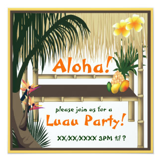 Tropical Luau Party Tiki Hut Invitation