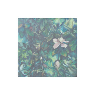 Tropical Magnolia marble floral magnet