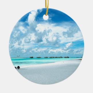 Tropical Maldives Beach Harbour Round Ceramic Decoration