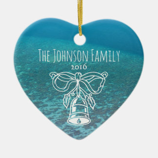 Tropical Maldives Blue Ocean Custom Family Photo Christmas Ornament