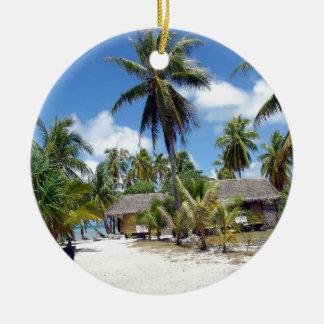 Tropical Maldives Palm Grove Shacks Christmas Ornament