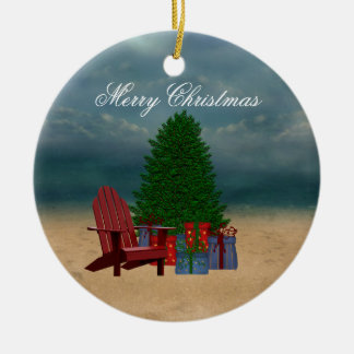 Tropical Merry Christmas Ornament