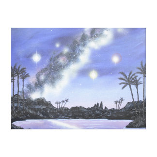 Tropical Milky Way Space Painting Stretched Canvas Print