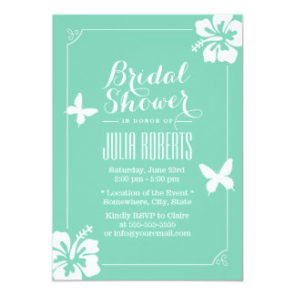 Tropical Mint Green Hibiscus Flowers Bridal Shower 13 Cm X 18 Cm Invitation Card