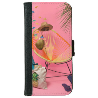 Tropical Modern Beach Set-Up in Pink iPhone 6 Wallet Case