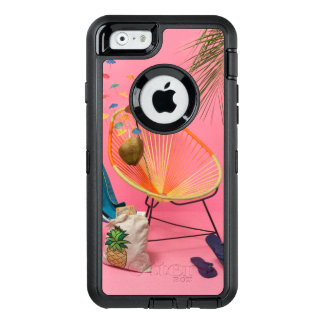 Tropical Modern Beach Set-Up in Pink OtterBox Defender iPhone Case