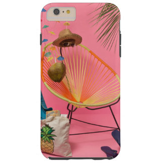 Tropical Modern Beach Set-Up in Pink Tough iPhone 6 Plus Case