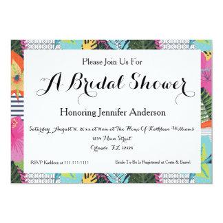Tropical Modern Floral Bridal Shower Invitation