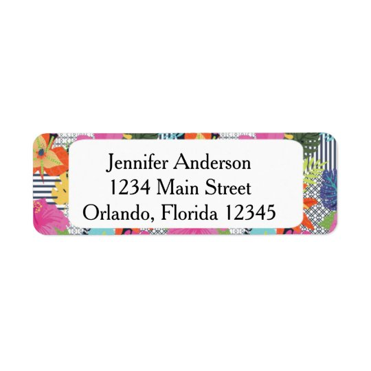 Tropical Modern Floral Return Address Label