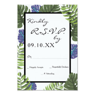 Tropical Modern Floral Wedding RSVP Response Card