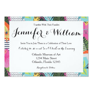Tropical Modern Graphic Floral Wedding Invitation