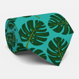 Tropical Monstera palm leaf floral print neck tie